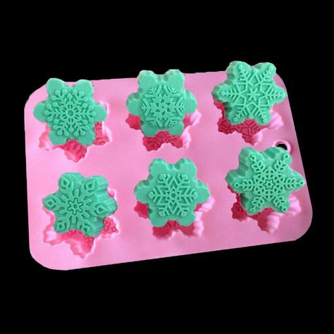 41d67595b9f0  4.69 - Cake Mold 6-Snowflake Christmas Soap Flexible Silicone Mould For  Candy Chocolate  ebay  Home   Garden