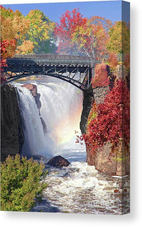 Nj Great Falls In Autumn Canvas Print by Regina Geoghan.  All canvas prints are professionally printed, assembled, and shipped within 3 - 4 business days and delivered ready-to-hang on your wall. Choose from multiple print sizes, border colors, and canvas materials.