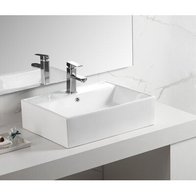 Dazone Dazone Sleek Vitreous China Rectangular Vessel Bathroom
