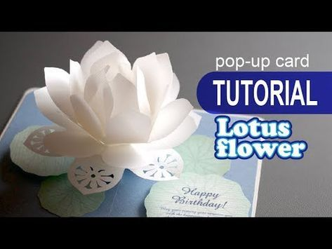 Tutorial Lotus Flower Pop Up Card Youtube Pop Up Flower Cards Pop Up Card Templates Pop Up Flowers