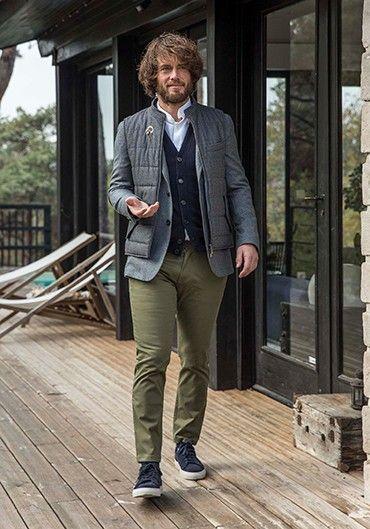 Veste gris chiné flanelle de laine italienne ripstop | Mens