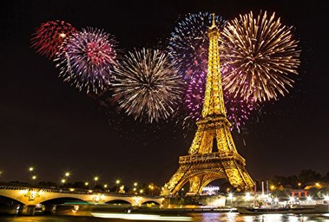 DaShan 14x10ft Paris Eiffel Tower Colorful Fireworks Backdrop for New Year Wedding Decor France Eiffel Tower Background for Photography City Landscape Fireworks Bridge Christmas Photo Props