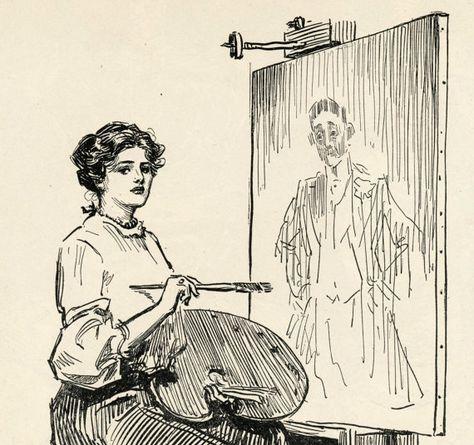 Gibson Girl - The Woman Artist - Keep Still, Please - Humorous 1906 Antique Charles Dana Gibson Prin