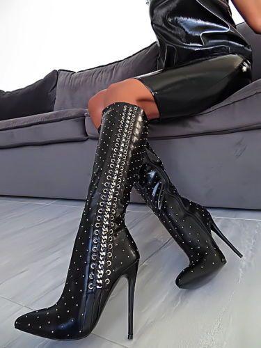 Stiefel Schuhe Luxury Top Hohe Women Schwarz Damen B106 LzVqSUpMG