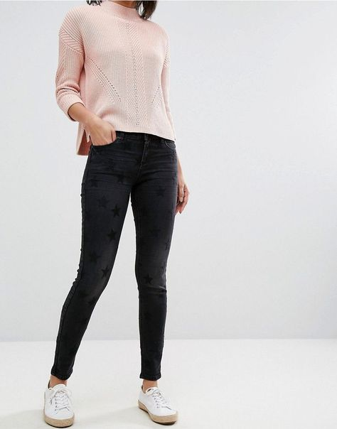Esprit Frayed Hem Distressed Skinny Jeans ($72) ❤ liked on