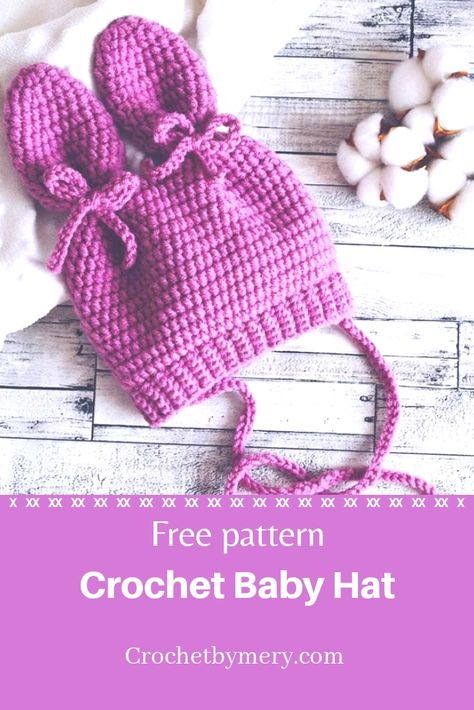crochet baby hat free pattern for little girl with cute ears patterns baby girl crochet baby hat free pattern Easy Crochet Baby Hat, Crochet Baby Hats Free Pattern, Crochet Baby Bonnet, Baby Girl Crochet, Crochet Baby Shoes, Crochet Baby Clothes, Crochet For Kids, Knitted Baby, Crochet Hats For Babies