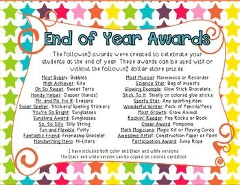 end of the year awards for preschoolers  End Of Year Awards {52 Editable Student Certificates} | Students ...