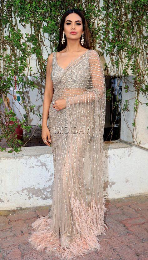 Esha Gupta looked stunning in a see-through saree.       #indianfashion #Sari #Shimmer #bollywoodfashion