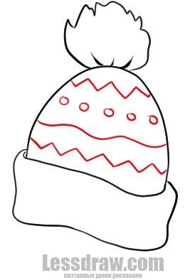 Christmas Hat Drawing Easy.How To Draw A Winter Hat Lessdraw Rajzok In 2019