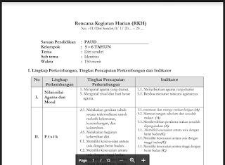 Rpph Paud Kelompok B Tk B Semester 1 Dan 2 Kurikulum 2013