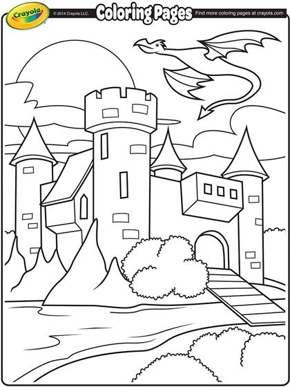 Castle With Dragon Flying Above Coloring Page Crayola Com Castle Coloring Page Crayola Coloring Pages Dragon Coloring Page