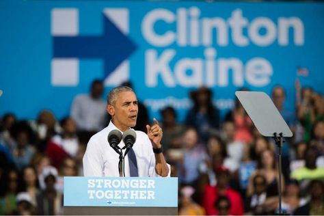 (1 of 5) President Barack Obama speaks at campaign event for Democratic presidential candidate Hillary Clinton, Tuesday, Sept. 13, 2016, at Eakins Oval in ...