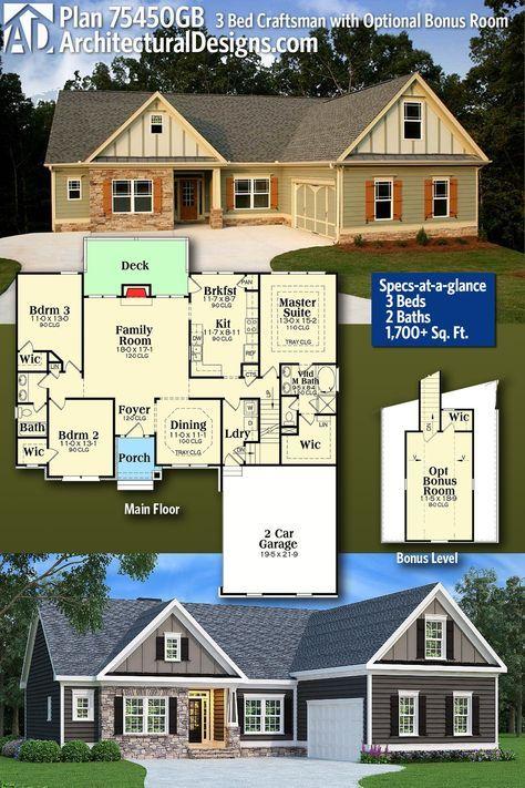 Plan 75450gb 3 Bed Craftsman With Optional Bonus Room Craftsman House Plans Craftsman House House Blueprints