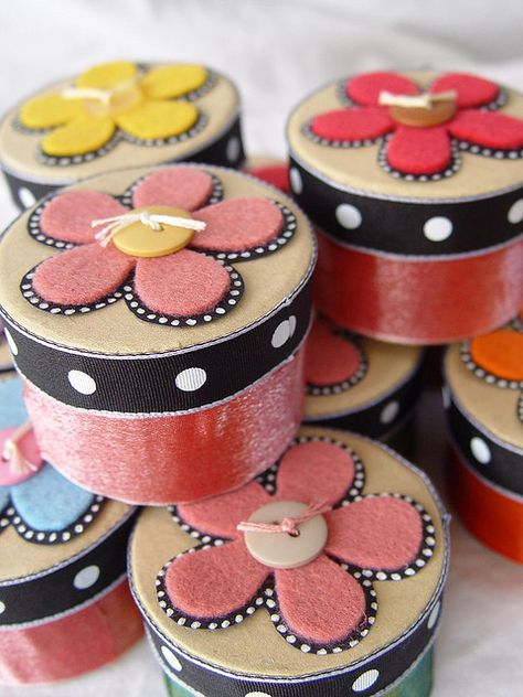 Cute little gift boxes made from ribbon, paper, and felt - from a little bit of just because