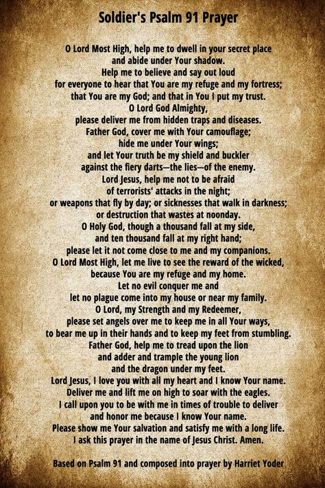 A Soldier's Prayer based on Psalm 91 for the soldier in your life.