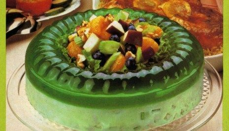 This 70s Jell O Celery Nut Circle Gelatin Mold Combines Lime Jello With Sour Cream Nuts And Celery Recipe Retro Desserts Jell O Jello Recipes