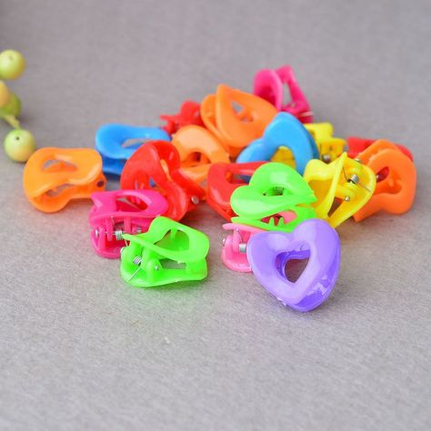 25pcs Todder Accessories Mini Hair Claw Clamps Flower Heart Plastic Hair Clips Baby Grips Hair Jaw Mix Color