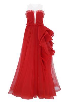 Kirmizi Straplez Uzun Elbise Red Embroidered Gown 2020 Elbise Uzun Elbise The Dress