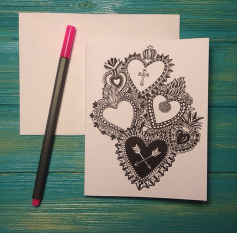 Original Ex Voto Sacred Hearts Valentine by SeaSenoritaStudios
