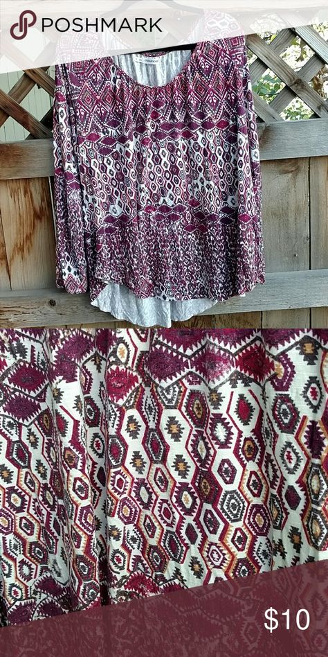 Maurices Aztec Blouse Plus Eggplant, cream, and shades of brown Aztec print Distressed look.   No trades, all reasonable offers accepted Maurices Tops Blouses