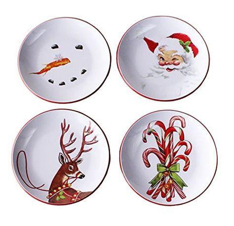Melamine Retro Christmas Plates Set of 4 Assorted Designs 180 ...