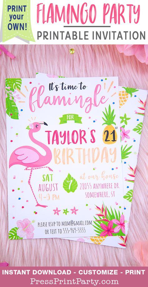 7fdd4bfa706c Flamingo Party Invitation Printable (Let s Flamingle) - Press Print Party!