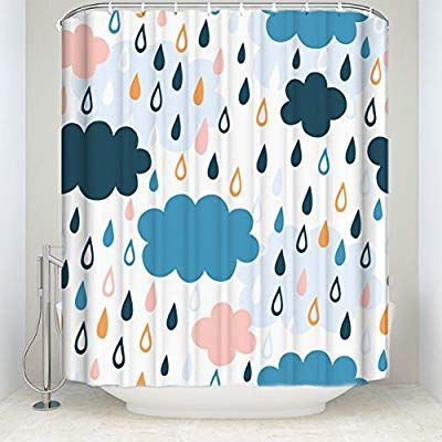 Bathroom Shower Curtain Cute Raindrops And Clouds Background Collection Mil Bathroom Shower Curtains Turquoise Kitchen Decor Printed Shower Curtain