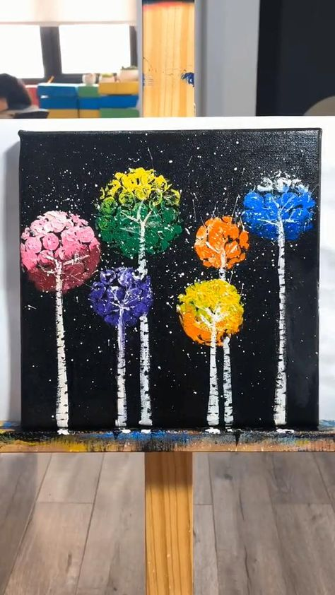 So easy and creative! 😍😍👌👌  Only 5 steps to finish this oil painting! So Fantastic. 😍 #diy #Arts and Crafts #Painting tutorial #Painting ideas easy