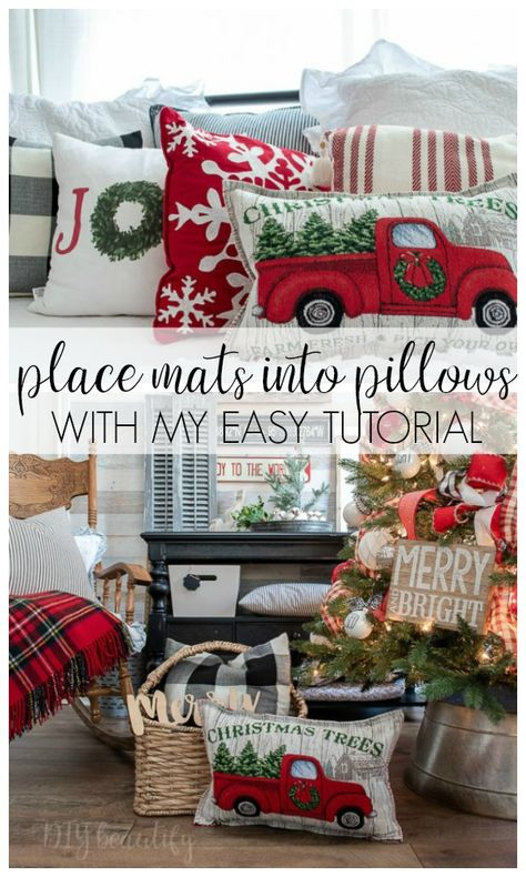 Turn place mats into gorgeous, designer-worthy pillow covers! I'm sharing the tutorial PLUS my trick for perfectly stuffing a pillow cover with no lum. Dollar Tree Christmas, Dollar Tree Crafts, All Things Christmas, Christmas Crafts, Diy Christmas Pillows, Christmas Pillow Covers, Xmas, Christmas Sewing Gifts, How To Make Pillows