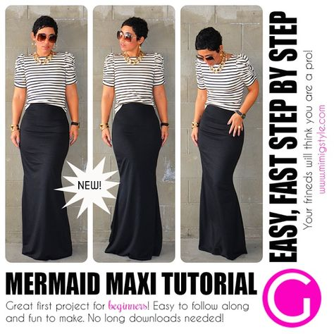 Diy Sewing Projects Image of Mermaid Maxi Tutorial - Step by Step VIDEO Tutorial. Great for Beginners and Intermediate Seamstresses. The PDF file attached in the email you will receive after.