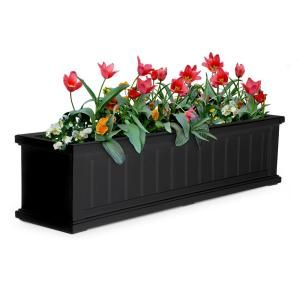 Mayne Self Watering 11 In X 48 In Black Cape Cod Window Box 4841 B The Home Depot Window Box Cape Cod Window Box Window Planter Boxes