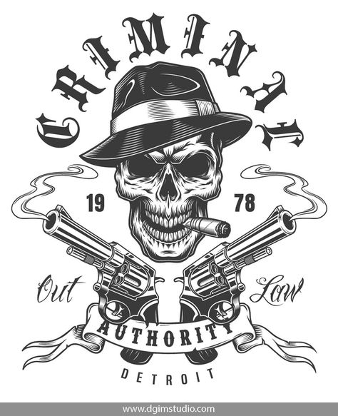 Vintage monochrome gangster print with skull smoking cigar in fedora hat  with pistols. Click to the link and find more gangster elements 39b59b80a48c