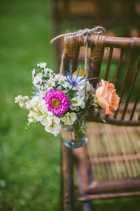 mason jar ceremony aisle arrangement