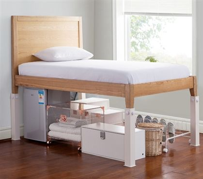 Suprima® Ultimate Height Bed Risers - Carbon Steel - White Top Features include: Ultra strong carbon steel bed risers designed to fit college dorm square wooden bed frames and provide Ultimate Height! Bed Risers stand over Dorm Room Bedding, College Dorm Bedding, College Dorm Rooms, Bedding Sets, Dorm Room Beds, Dorm Room Headboards, College Apartments, Girl Bedding, Studio Apartments