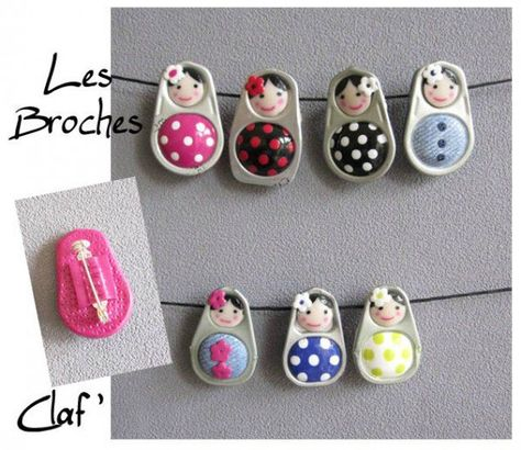 I love these fimo ring pulls. I've not tried them and they look really fiddley (so lots of practice first). ( I think that they are Fimo with faces painted on). Pop Tab Crafts, Soda Can Crafts, Arts And Crafts, Soda Can Art, Fimo Ring, Polymer Clay Ring, Pop Can Tabs, Matryoshka Doll, Upcycled Crafts