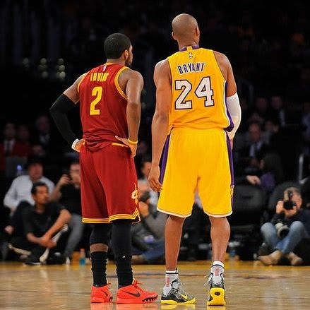 Kobe Bryant Is Actively Talking And Recruiting Kyrie Irving To The Lakers Follow Theplaaybook For The Most Content Nba Warriors Kobe Kyrie Irving