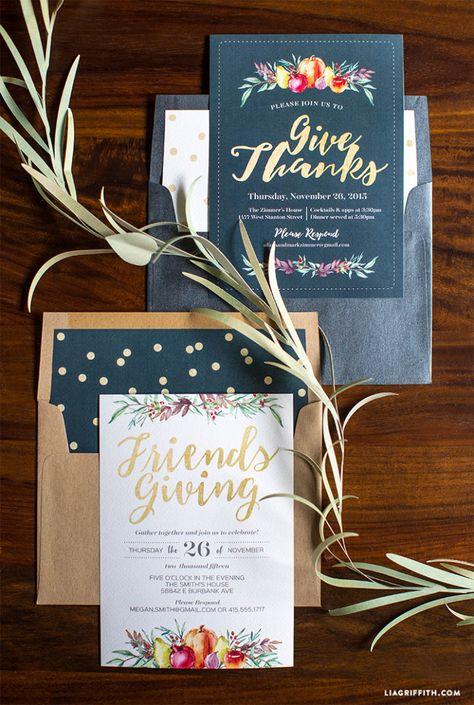 #Thanksgiving #Friendsgiving #invitation www.LiaGriffith.com: