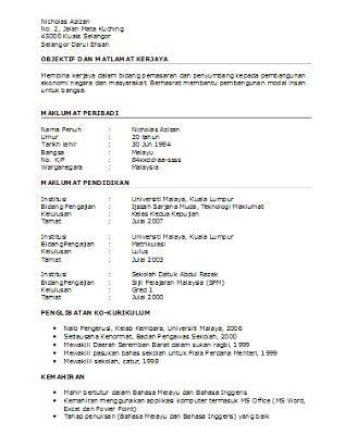 Oh! Template Resume Dalam Bahasa Melayu Terkini - http://ohkerjaya ...