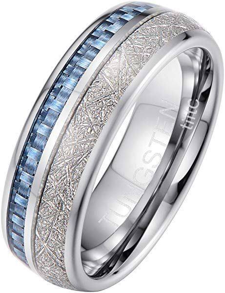 Tiitc Tungsten Rings For Men Women Meteorite Mens Wedding Rings