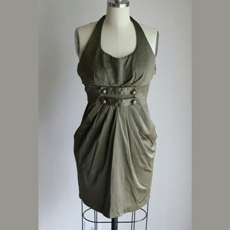 Olive Green Halter Dress Semi Formal Halter Dress With Four
