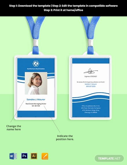 Real Estate Employee Id Card Template Word Psd Apple Pages Illustrator Employee Id Card Id Card Template Card Template