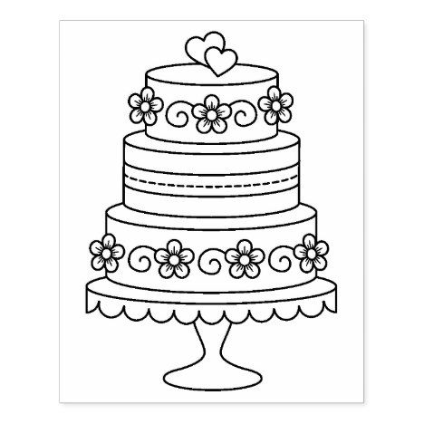 Tiered Wedding Cake Coloring Page Rubber Stamp Zazzle Com