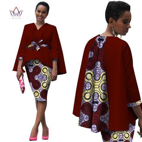 Aliexpress.com  Acheter Afrique Style Femmes Africain Vêtements Deux Pièces  Ensemble Robe Costume pour Femmes Tops Veste et Jupe D impression Bazin  Riche ... 37cd0effdd0