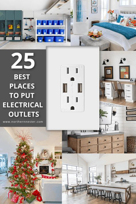 25 Best Places To Put Electrical Outlets - Northern Nester Kitchen Outlets, Home Building Tips, Building A House Checklist, Floor Outlets, Electrical Outlets, Electrical Plan, Electrical Wiring, Electrical Engineering, Sweet Home