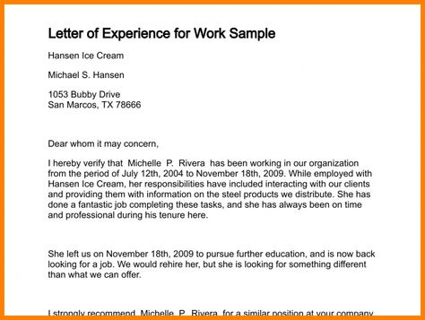 Experience Certificate Format | Sample resume cover letter ...