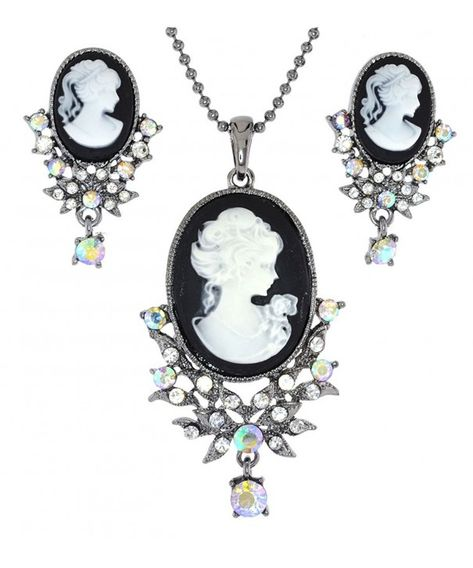 Purple Profile Cameo Lady Diamante Rhinestone Fashion Pendant Necklace Jewelry