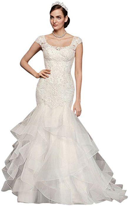 5bae070e53eb David's Bridal Oleg Cassini Lace Cap-Sleeve Trumpet Wedding Dress Style  CWG750, Soft White, 0 at Amazon Women's Clothing store: