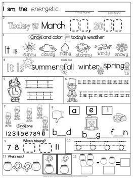 Morning Work Kindergarten Packet For March Common Core Differentiated Spring Kindergarten Morning Work Kindergarten Math Worksheets Free Kindergarten Worksheets Morning work worksheets for kindergarten