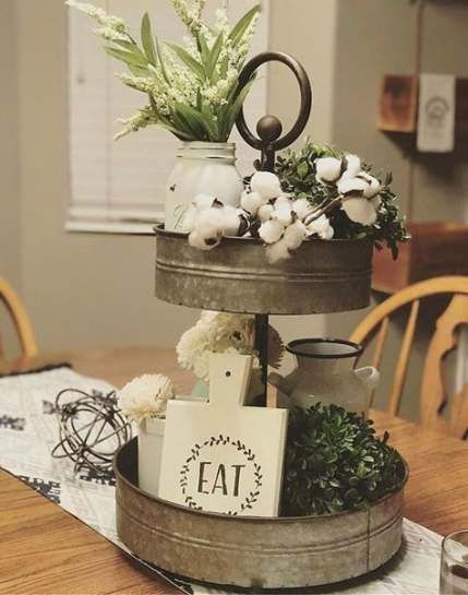 Best Farmhouse Dining Centerpiece Trays 44 Ideas Kitchen Table Centerpiece Cotton Decor Tray Decor
