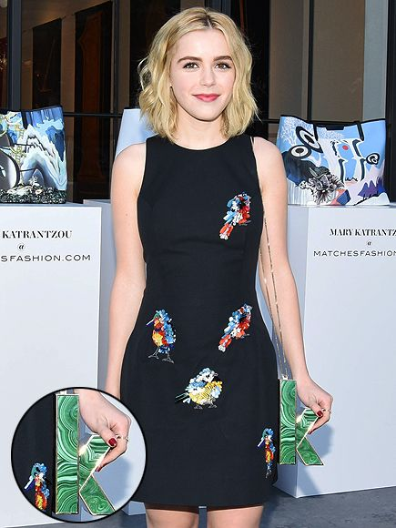 Celebs' Wildest, Wackiest and Most Whimsical Clutches | KIERNAN SHIPKA | The 15-year-old Mad Men star rarely puts together a look we don't like, but we fell in love with this one once we spotted her playful Mary Katrantzou